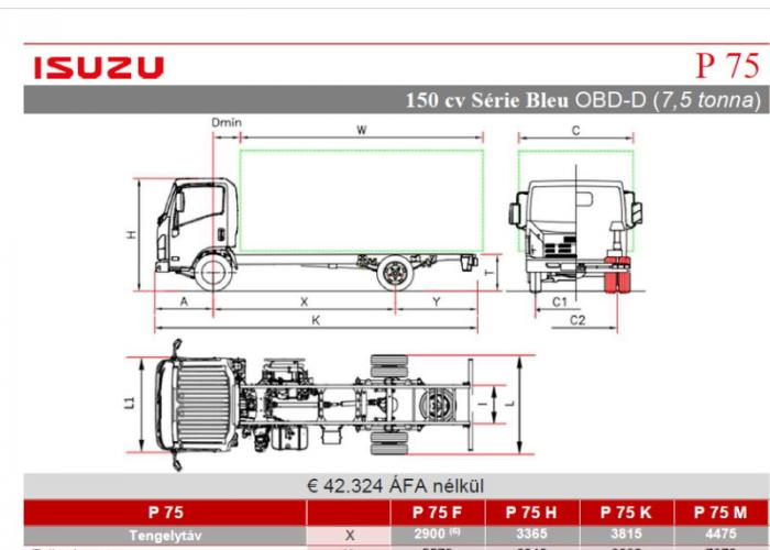 Katalógus Isuzu P75 150 hp